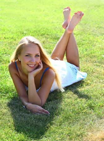 girl on grass field Stock Photo - 9994632