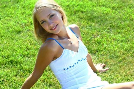 girl on grass field Stock Photo - 9994617
