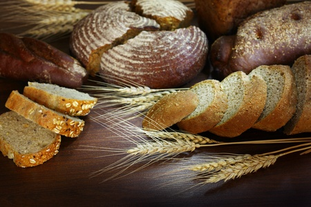 bread assortment background Stock Photo
