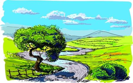 river rock: Sfondo bellissima natura Vettoriali