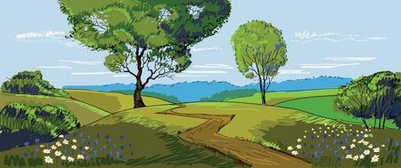 Sunny Meadow landscape Stock Vector - 10338503