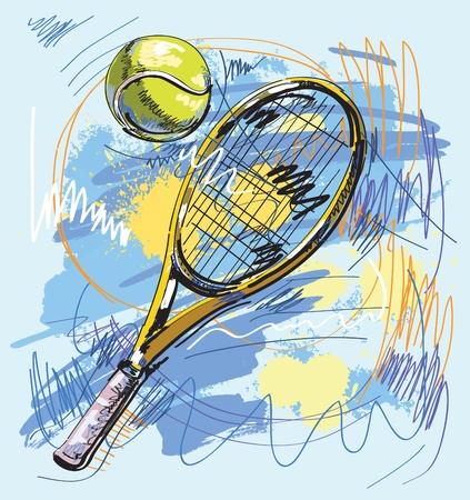tenis: Ilustraci�n vectorial - raqueta de tenis y pelota