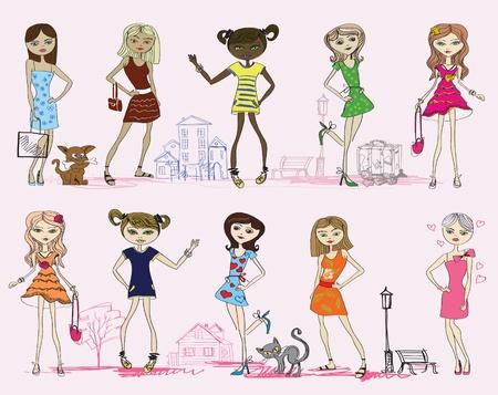 fashion cartoon girl set Vector