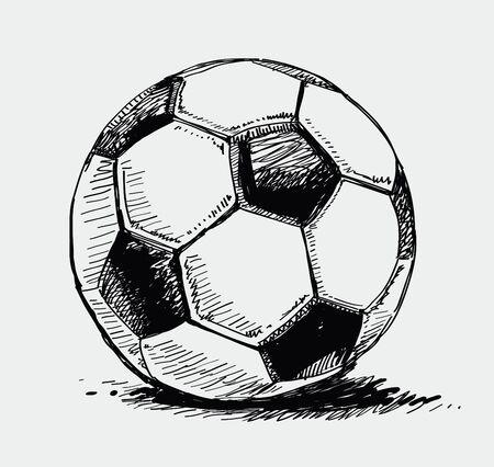 ink sketch: Pallone da calcio Vettoriali