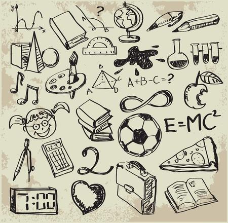 hand drawing: Back to school - set of school