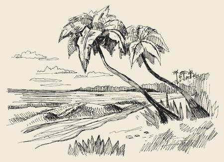 originele hand getrokken beeld van de zee Vector Illustratie