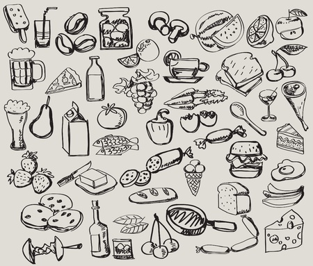 hand drawn set : kitchen - food Vector