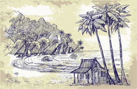 seabird: original hand drawn picture of sea