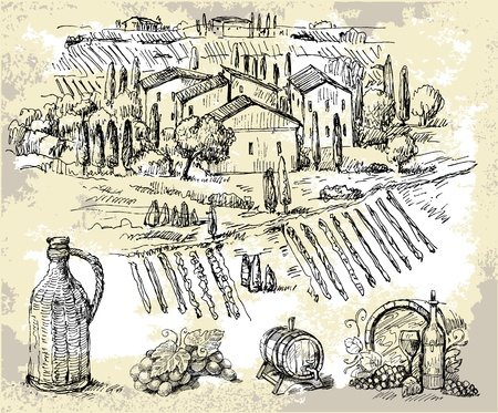 tuscany landscape: vineyard-original hand drawn collection