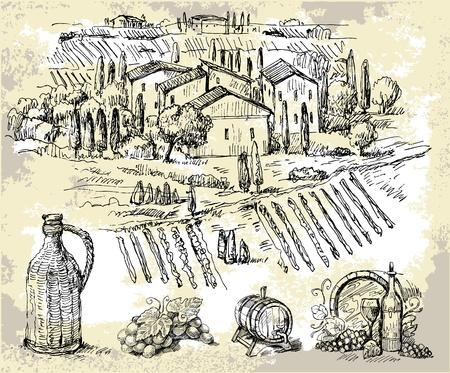 ぶどう畑のオリジナル手描きコレクション