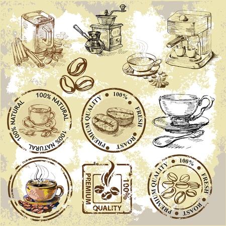 filiżanka kawy: elementy kawy Ilustracja