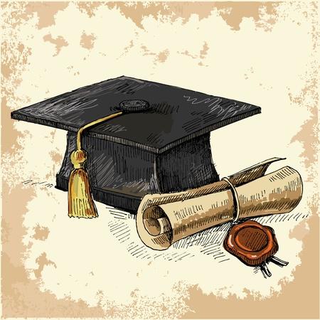 berretto: Diploma e graduation cap Vettoriali