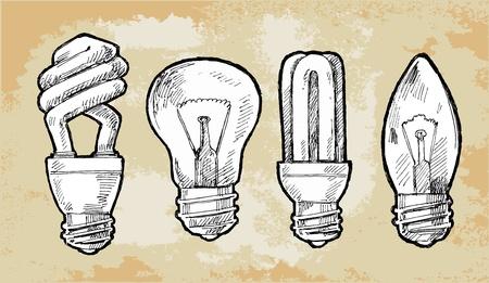 filament: Set illustration of light bulb