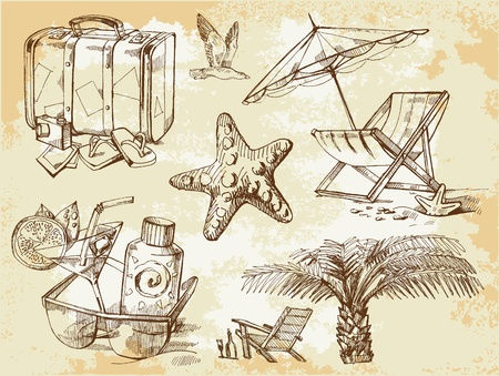 summer lounge doodles Vector