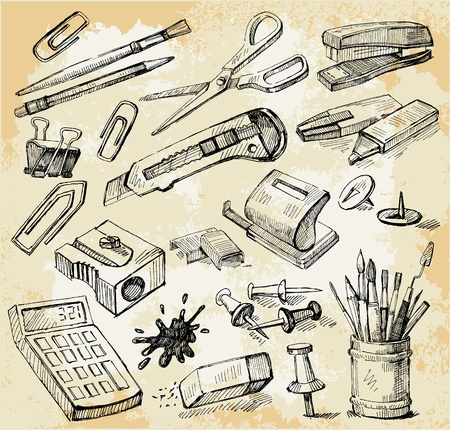 pegamento: Algunas cosas a mano Oficina Dibujado Vectores
