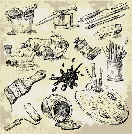 paleta de pintor: Conjunto de cosas Dibujado a mano del artista