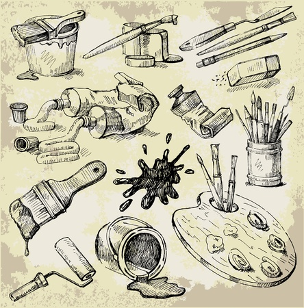 old hand: Set of Hand Drawn Artists Stuff