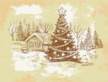 Vintage Christmas Card . Stock Vector - 10798172