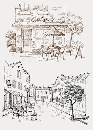 esboço: Caf� da rua Ilustração