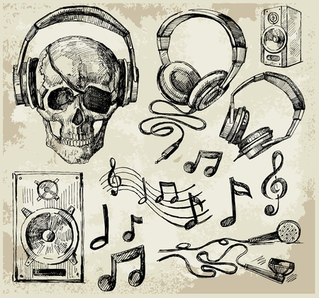 simbolos musicales: m�sica de fondo Vectores
