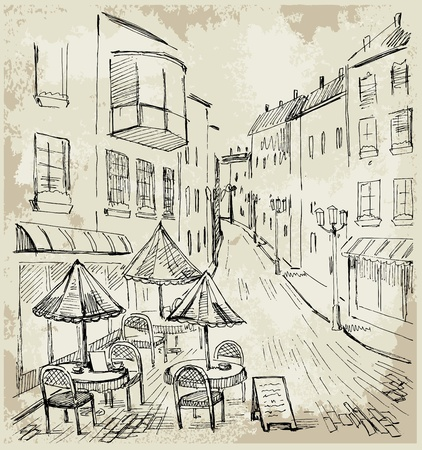 building sketch: Street cafe