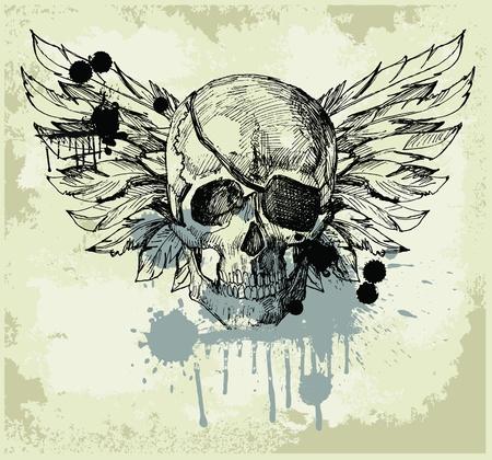 Grunge vintage skull emblem Stock Vector - 10982336