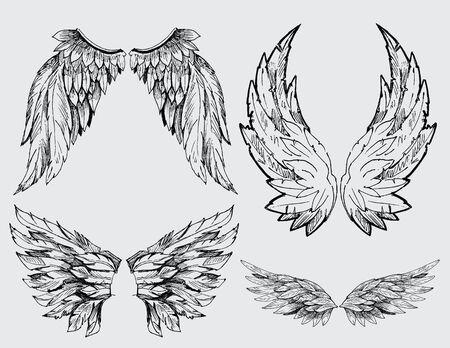 silueta de angel: alas conjunto Vectores