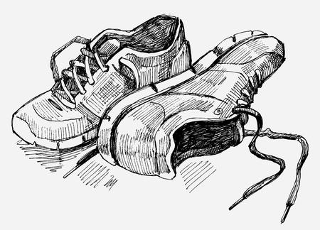 vieze handen: Hand getrokken illustratie van sneakers