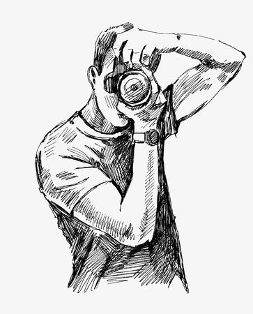 bocetos de personas: Fot�grafo Vectores