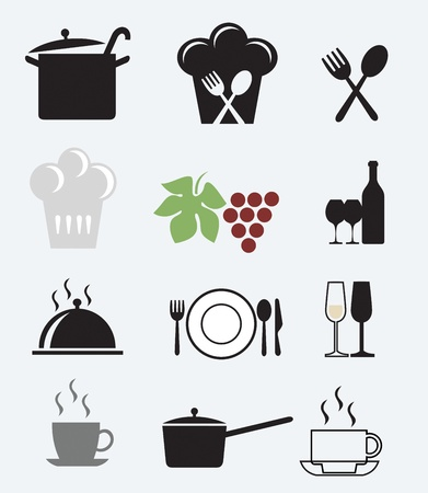 restaurant icons: Icons set for restaurant, cafe and bar