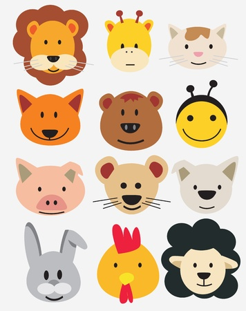 Illustration of animal faces. Vector