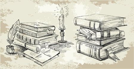 old school: Books stack Illustration
