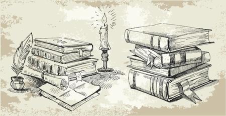 copertina libro antico: Libri dello stack Vettoriali
