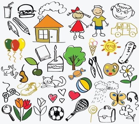 childrens drawing, the vector Vector