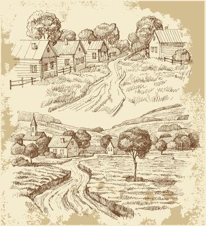 dibujo vintage: Casas de pueblo boceto con los alimentos