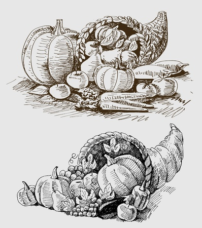 pumpkin tomato: Thanksgiving or harvest cornucopia Illustration