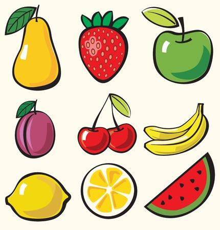 frutas tropicales: fruto de fondo Vectores