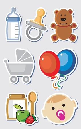 newborn baby girl: baby boy elements Illustration