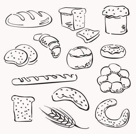 toasted bread: bread set Illustration