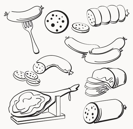 salami: Elementos de la carne establecidos Vectores