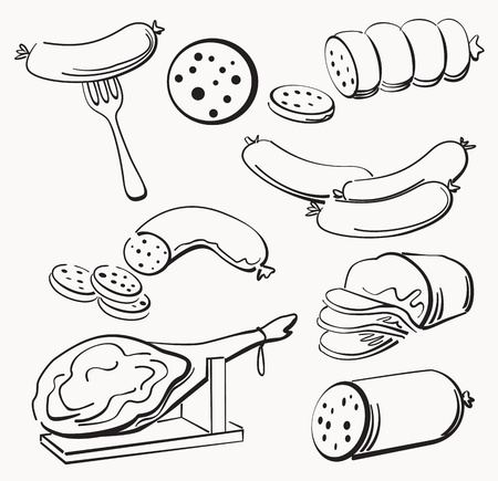 veal sausage: Meat elements set Illustration