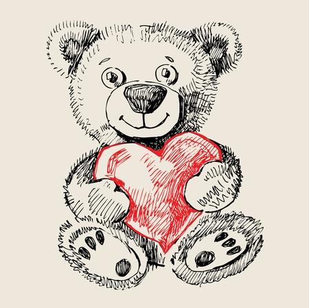 Dibujado a mano del oso de peluche Ilustración de vector