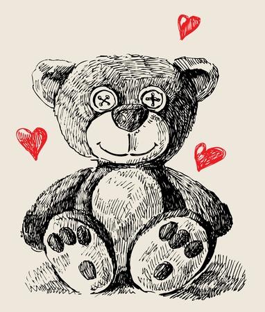vintage teddy bears: Disegnata a mano teddy bear