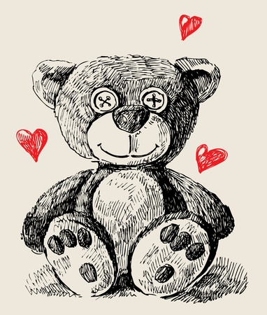 Hand drawn teddy bear Vector