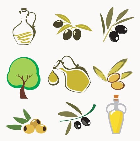 picking fruit: Collections of olive icons