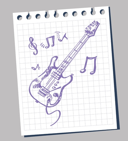 sketchy stylized illustration of a guitar Vector