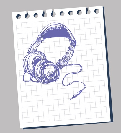 head phones:  head phones sketch Illustration