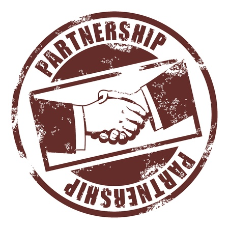 business partnership: Partnership stamp Illustration