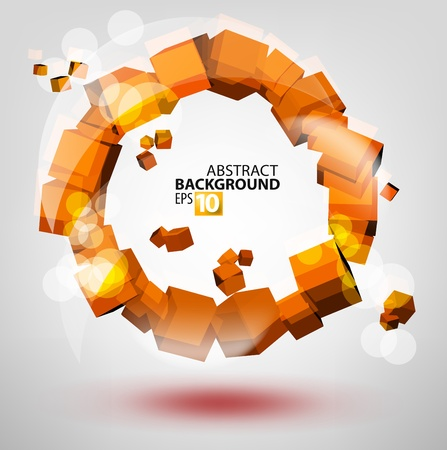tecnologia virtual: 3d abstracto de naranja c�rculo Vectores