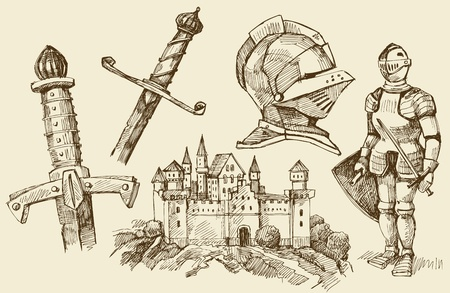 medieval scroll: middle age doodles Illustration